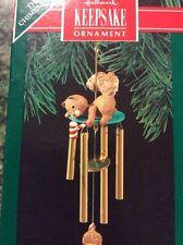 Hallmark Chiming In Wind Chime Ornament W Squirrel 1990 NIB