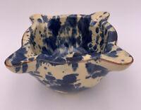 "Pottery Ashtray Blue/Ivory Glaze Ceramic MidCentury Modern 4"" Depth"