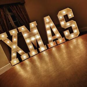 Large Light Up letters for sale Wood 4ft XMAS Cabochon Bulbs #weddings #events