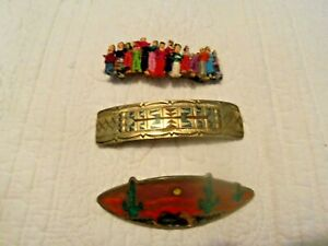 Vintage Barrette Lot of 3! Includes Two with Turquoise inlay! & Worry Dolls!