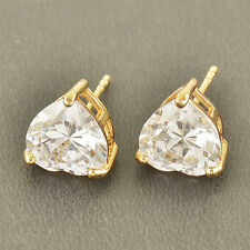 Lovely 9K Solid Gold Filled crystal Crystal Womens Heart Stud Earrings