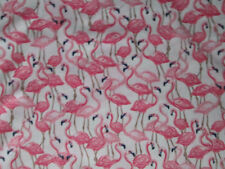 FLAMINGOS BIRDS PACKED PINK WHITE COTTON FABRIC BTHY