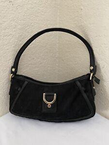 Gucci Abbey D Ring Black Cotton Canvas Leather Trim Hobo Shoulder Handbag 130939