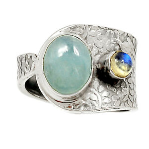 Aquamarine, Stone Of Courage & Moonstone 925 Silver Ring s.7.5 BR86359 288K