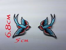 Quality Iron/Sew on Collar swallow biker patches patch cut old school tattoo