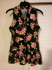 Sleeveless Black Floral Bow Knot Shirt  Blouse size Medium