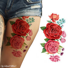 LARGE SMALL RED PINK BLACK ROSES FLOWER TEMPORARY TATTOOS WOMEN ARM WATERPROOF