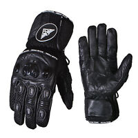 CowHide Leather Motorcycle Motorbike Gloves Thermal Knuckle Protection Winter