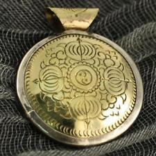 Brass Reversible Pendant Artisan Handcrafted Nepalese Tibetan Jewelry From Nepal
