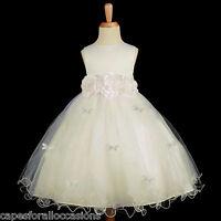 IVORY BUTTERFLIES WEDDING EASTER BAPTISM FLOWER GIRL DRESS 12M-18M 2 3T 4 6 8 10