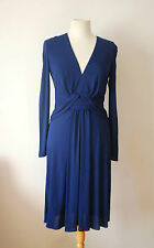 ISSA royal blue drape V neck wrap dress UK 10