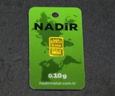 GOLDBARREN 0,10 Gramm NADIR Gold Barren 0,1g 0,10g 999,9 Nadir LBMA zertifiziert