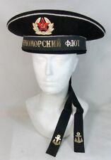 Soviet Russian Navy BLACK SEA FLEET Sailor Visorless Cap Hat USSR Badge 60cm XL