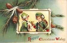 Happy Christmas Snow Children Pine Cones Holly Antique Postcard K39350