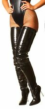 New Womans Mens Sexy Patent Stretch Fetish Crotch Thigh High Heel Stiletto Boots