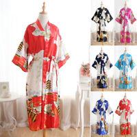 Women Faux Silk Short Sleeve Bridesmaid Robe Floral Kimono Sexy Bathrobe Gown