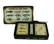 Lures of the Past Deck Playing Cards Dice Set Tin Antique Fishing Mens Gift New