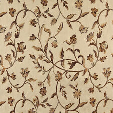 A0011E Beige Gold Brown Ivory Floral Brocade Upholstery Fabric By The Yard