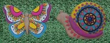 Garden Path Stepping Stone Wall Plaque pair of 2 colored Snail and Butterfly New
