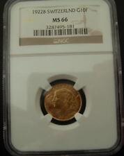 Switzerland 1922B Gold 10 Francs NGC MS-66