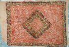 Great Rare Antique Hooked Rug Made with Chenille Yarn