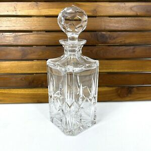Atlantis Lead Crystal Blown & Cut Square Decanter w/ Faceted Stopper