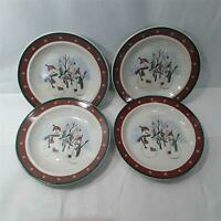 "Royal Seasons 4 Bread Plates 6.25"" Christmas Snowmen Winter Stoneware Exclnt"