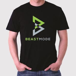 New Marshawn Lynch Beast Mode Logo Men's Black T-Shirt Size S to 3XL