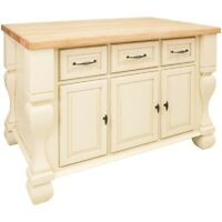 Jeffrey Alexander Kitchen Island Real Wood Drawers Traditional Antique White