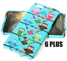 For iPhone 6+ / 6S+ Plus -HARD SKIN CASE COVER TURQUOISE GREEN BLUE TREE OWLS