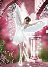 Ballet Angel Birthday Card for women and girls sparkly white and pink blossoms