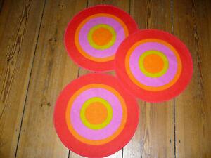 3 x Tischdecke Tischsets Op Art Panton Graphisch original 60er 70er Vintage