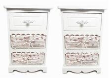 Set Paire de 2 assemblé Blanc Panier Tiroir Table Chevet Unité Stockage Armoire