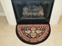 "Mersin 2'2""x 3'3"" Traditional Hearth Rug Black Perfect For Cabin Lodge Fireplace"