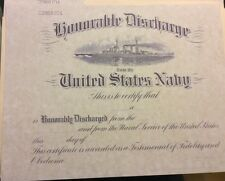 U.S. NAVY Honorable Discharge Certificate, Comes Blank .