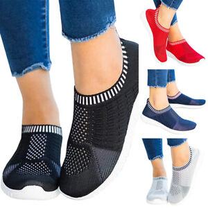 Damen Sportschuhe Slip On Sneaker Fitness Laufschuhe Stricken-Optik Schuhen Neu