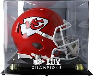 Kansas City Chiefs Super Bowl LIV Champs Golden Classic Helmet Logo Display Case