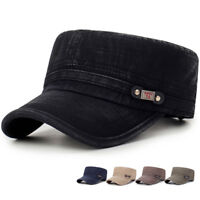 Mens Washed Cotton Flat Top Hat Outdoor Sunscreen Military Army Peaked Dad Cap
