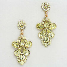 """GLAM Statement Gold Jonquil  Crystal BIG 2.3"""" Cocktail Earrings Rocks Boutique"""