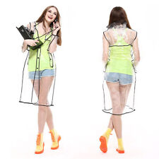 Long Transparent PVC Raincoat New Runway Style Womens Girls Men Clear Rain Coat