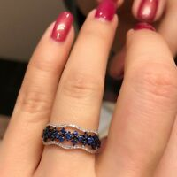 Elegant 925 Silver Blue Sapphire Wedding Proposal Couple Band Ring Size 6-10