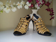 JLO by Jennifer Lopez Stiletto High Heel Strappy Sandals Mustard/Black Sz. 7,5M
