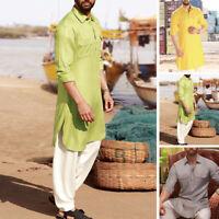 Men's Shirt Kurta Indian Ethnic Dress Formal Wear Tops Tunic Kurta Shirt Dress