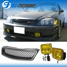 Fits 96-98 Honda Civic EK JDM Type R Grill Grille + Yellow Fog Lights