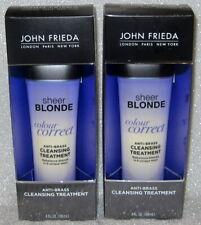 LOT OF 2 JOHN FRIEDA SHEER BLONDE COLOUR CORRECT ANTI BRASS CLEANSING TREATMENT