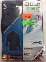 Mens PolarMax Comp 4 Technical Base Layer Top Black Heavy Weight Crew Shirt USA