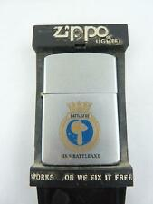 More details for vintage zippo lighter hms battleaxe crest - boxed, untested