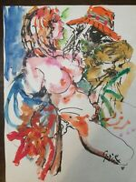 """Hendrik Grise Watercolor Painting with Ink on Paper, Signed, Untitled, 18"""" X 24"""""""