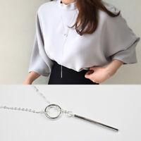 Lange Pulloverkette 80 cm Kreis & Stäbchen echt Sterling Silber 925 Halskette