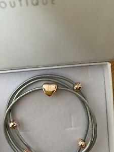 Initial Bracelet With Letter B Heart Charm (Grey Bracelet, Rose Gold Charm)